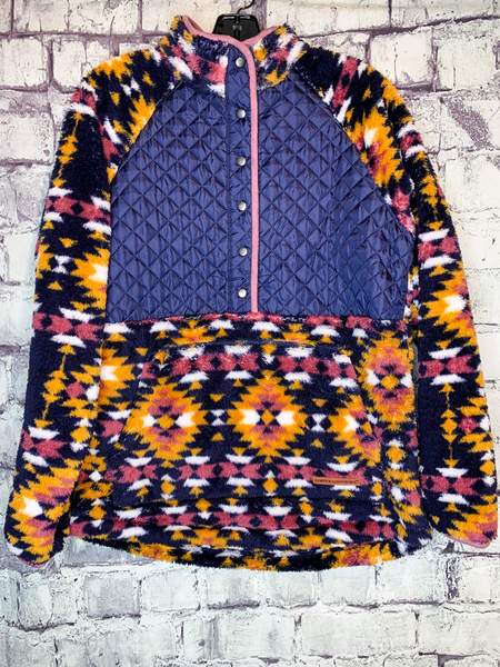quilted blue aztec print pullover shirt top sweater sweatshirt | fall and winter fashion | shop women's clothing clothes apparel accessories jewelry and gifts online or in store at boerne pixie boutique | a favorite of locals and san antonio visitors too