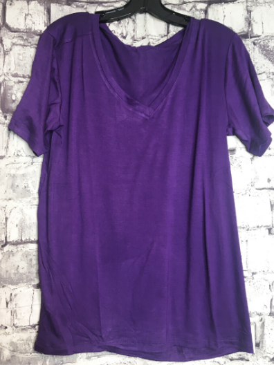purple boxy v-neck tee shirt t-shirt top blouse summer fashion | shop women's clothing clothes apparel online or in store at boerne pixie boutique | a favorite of locals and san antonio visitors too