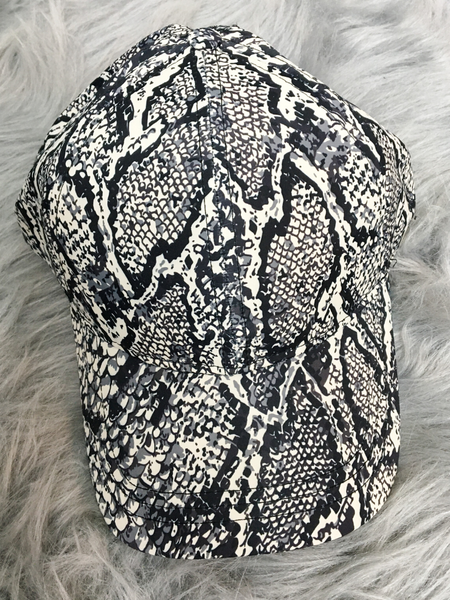 snake print high pony cap baseball hat women's clothing apparel clothes accessories pixie boutique boerne shop online or in store