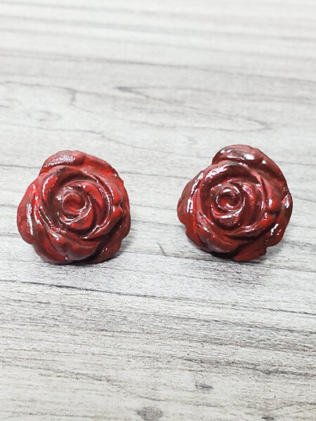 red rose studs earrings women's jewelry accessories pixie boerne boutique shop online or in store