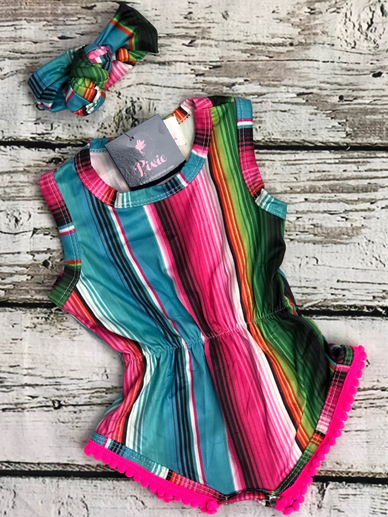 rosita serape romper headband striped outfit baby infant toddler kids girls clothing accessories boerne pixie boutique shop online or in store