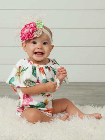 ruffle bodysuit romper onesie baby outfit for infant toddler floral cactus print boerne pixie boutique shop online or in store