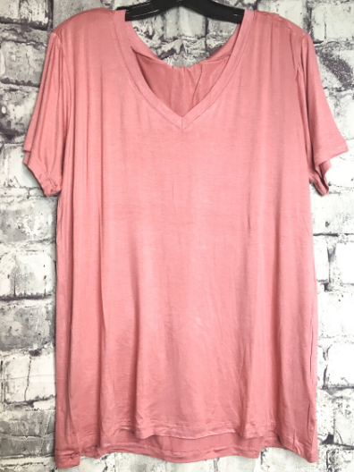 peach light pink salmon boxy v-neck tee shirt t-shirt top blouse summer fashion | shop women's clothing clothes apparel online or in store at boerne pixie boutique | a favorite of locals and san antonio visitors too