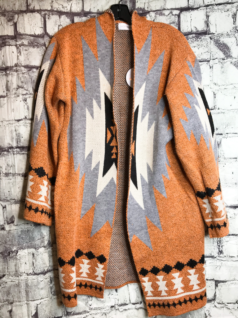 gray cream black and orange aztec print cardigan sweater top shirt blouse | fall and winter fashion | shop women's clothing clothes apparel accessories jewelry and gifts online or in store at boerne pixie boutique | a favorite of locals and san antonio visitors too