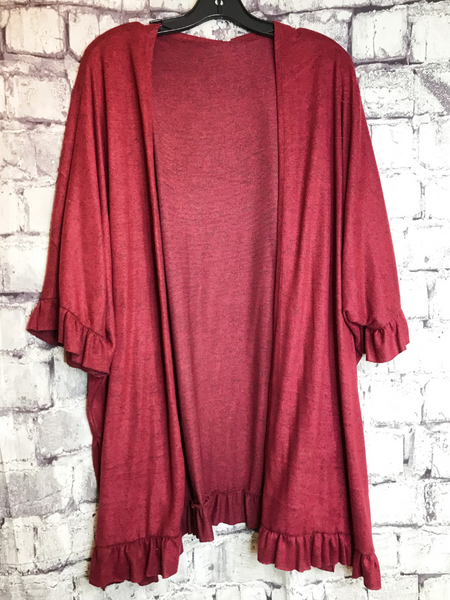 burgundy ruffle cardigan sweater top shirt blouse | fall and winter fashion | shop women's clothing clothes apparel accessories jewelry and gifts online or in store at boerne pixie boutique | a favorite of locals and san antonio visitors too