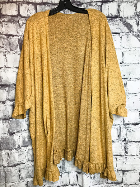 mustard yellow ruffle cardigan sweater top shirt blouse | fall and winter fashion | shop women's clothing clothes apparel accessories jewelry and gifts online or in store at boerne pixie boutique | a favorite of locals and san antonio visitors too