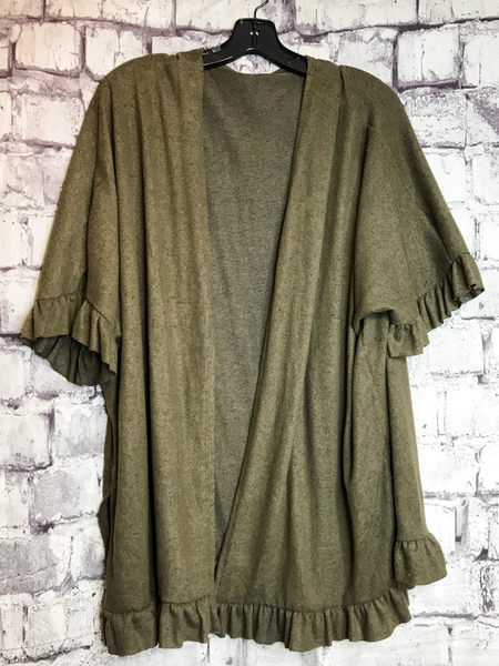 olive green ruffle cardigan sweater top shirt blouse | fall and winter fashion | shop women's clothing clothes apparel accessories jewelry and gifts online or in store at boerne pixie boutique | a favorite of locals and san antonio visitors too