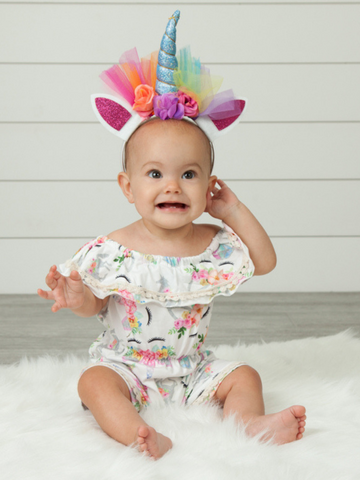 ruffle romper baby onesie outfit pink white purple blue floral Pixie boutique boerne shop online or in store
