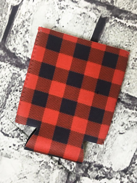 can cooler koozie coozie red and black buffalo plaid | shop women's clothing clothes apparel accessories and gifts online or in store at boerne pixie boutique | a favorite of locals and san antonio visitors too