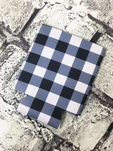 can cooler koozie coozie black and white buffalo plaid | shop women's clothing clothes apparel accessories and gifts online or in store at boerne pixie boutique | a favorite of locals and san antonio visitors too