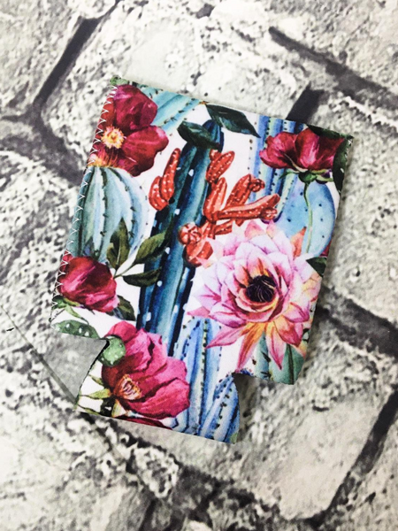 can cooler koozie coozie floral cactus | shop women's clothing clothes apparel accessories and gifts online or in store at boerne pixie boutique | a favorite of locals and san antonio visitors too