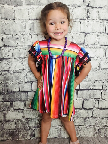 spunky serape dress for infant toddler or girls | shop girls clothing clothes apparel online or in store boerne pixie boutique | a favorite of locals and san antonio visitors too