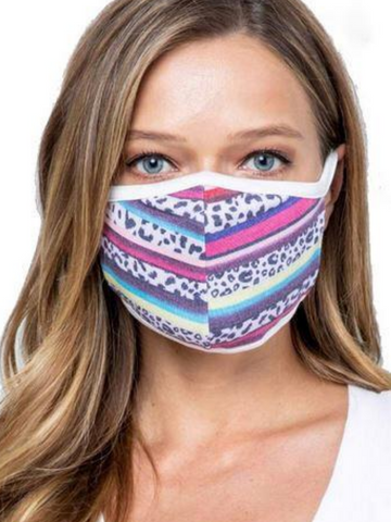 women's striped serape leopard print face mask | shop women's clothing clothes apparel accessories and gifts online or in store at boerne pixie boutique | a favorite of locals and san antonio visitors too
