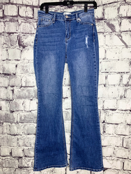 super flare jeans distressed denim pants bottoms | shop women's clothing clothes apparel accessories and gifts online or in store at boerne pixie boutique | a favorite of locals and san antonio visitors too