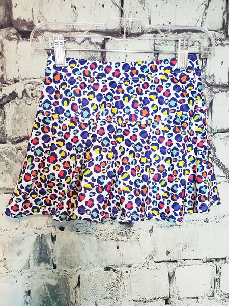 sporty spotty rainbow leopard print tennis skirt shop girls' clothing clothes apparel online or in store boerne pixie boutique | a favorite of locals and san antonio visitors too