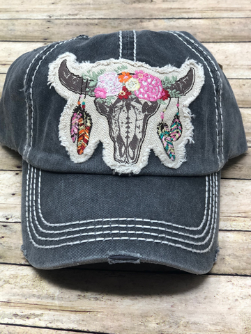 floral skull hat baseball cap women's clothing accessories clothes pixie boerne boutique shop online or in store