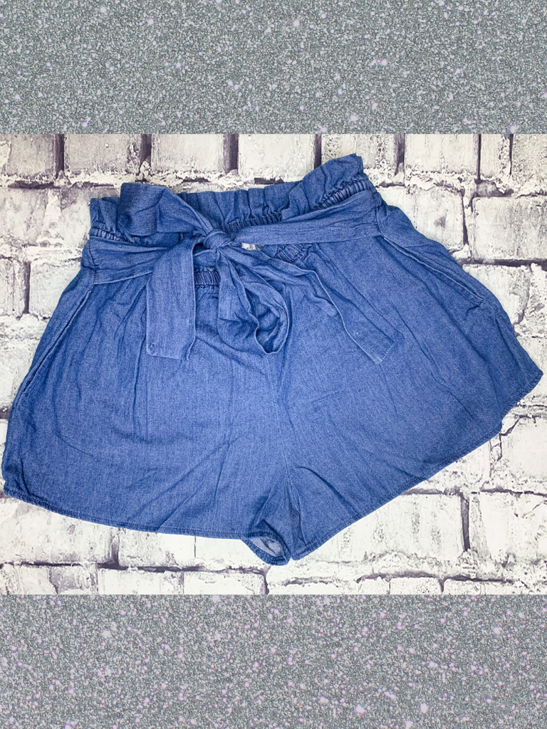 denim paper bag shorts | shop women's clothing clothes apparel online or in store at boerne pixie boutique | a favorite of locals and san antonio visitors too