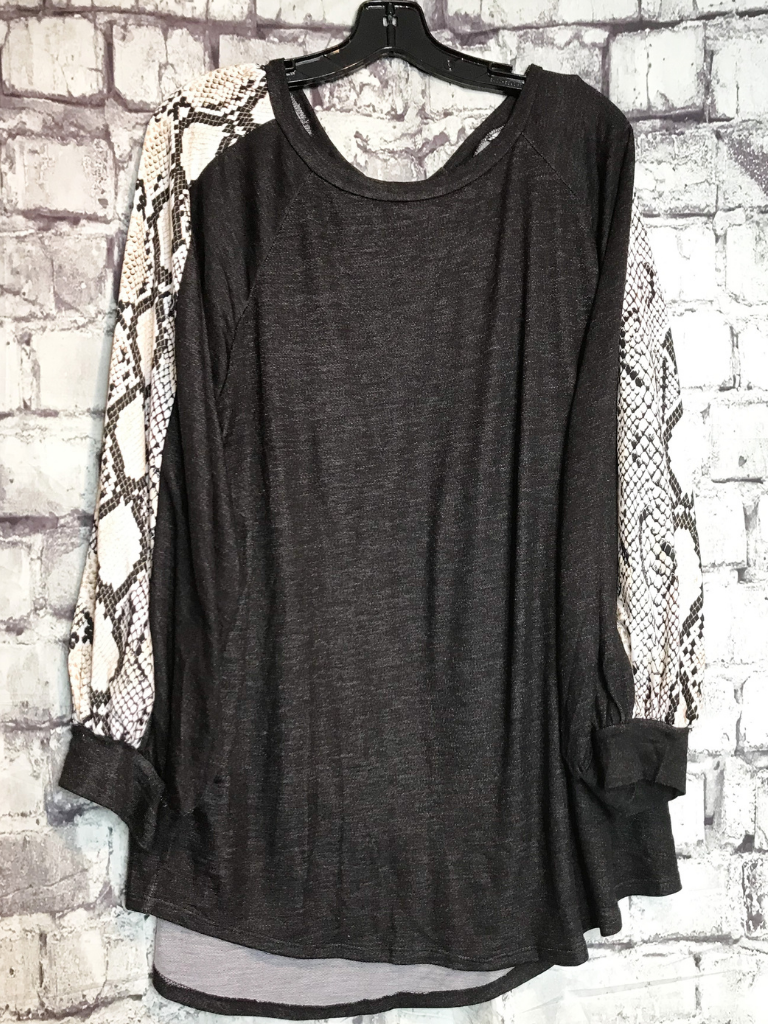 black snakeskin sleeve flowy loose top shirt blouse | fall and winter fashion | shop women's clothing clothes apparel accessories jewelry and gifts online or in store at boerne pixie boutique | a favorite of locals and san antonio visitors too