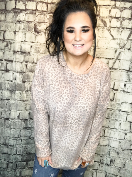 plus size soft leopard print top sweater with long sleeves | shop women's clothing clothes apparel accessories jewelry and gifts online or in store at boerne pixie boutique | a favorite of locals and san antonio visitors too | top best boerne boutiques