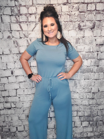 short sleeve jumpsuit blue drawstring women's clothing apparel clothes boerne pixie boutique shop online or in store