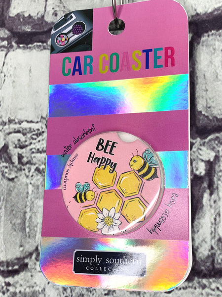 bee design simply southern car coasters for cup holders | shop women's clothing clothes apparel accessories and gifts online or in store at boerne pixie boutique | a favorite of locals and san antonio visitors too