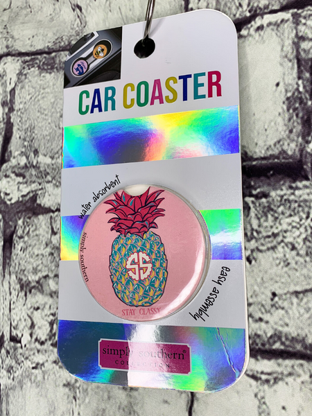 simply southern car coasters for cup holders pineapple design | shop women's clothing clothes apparel accessories and gifts online or in store at boerne pixie boutique | a favorite of locals and san antonio visitors too