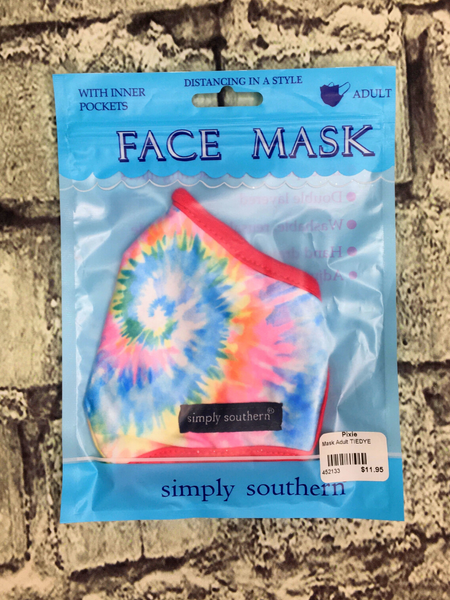 pink red blue yellow green tie dye simply southern women's adult sized face masks | shop women's clothing clothes apparel accessories and gifts online or in store at boerne pixie boutique | a favorite of locals and san antonio visitors too