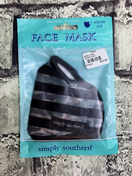 black gray camo print striped simply southern youth kids face masks | shop girls clothing clothes apparel accessories and gifts online or in store boerne pixie boutique | a favorite of locals and san antonio visitors too