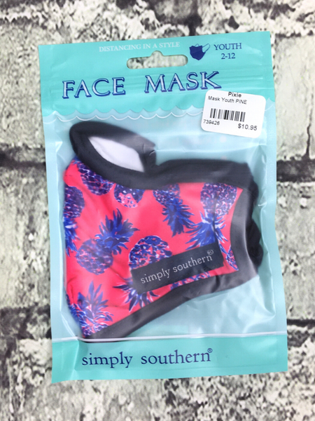 pink blue purple black pineapple print simply southern youth kids face masks | shop girls clothing clothes apparel accessories and gifts online or in store boerne pixie boutique | a favorite of locals and san antonio visitors too