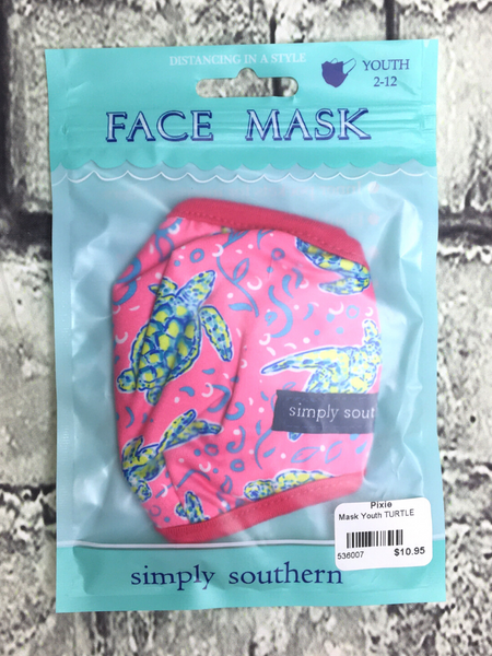 pink red green blue turtle tortoise simply southern youth kids face masks | shop girls clothing clothes apparel accessories and gifts online or in store boerne pixie boutique | a favorite of locals and san antonio visitors too