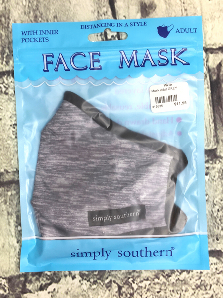 black charcoal gray heathered simply southern women's adult sized face masks | shop women's clothing clothes apparel accessories and gifts online or in store at boerne pixie boutique | a favorite of locals and san antonio visitors too