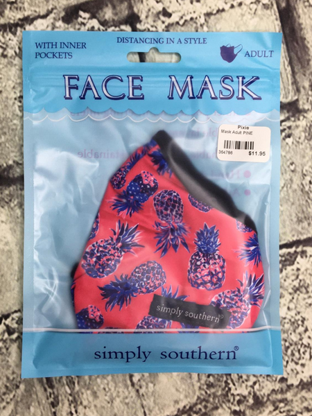 black pink red purple blue pineapple print simply southern women's adult sized face masks | shop women's clothing clothes apparel accessories and gifts online or in store at boerne pixie boutique | a favorite of locals and san antonio visitors too