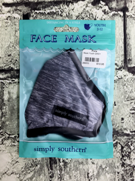 black gray heathered simply southern youth kids face masks | shop girls clothing clothes apparel accessories and gifts online or in store boerne pixie boutique | a favorite of locals and san antonio visitors too