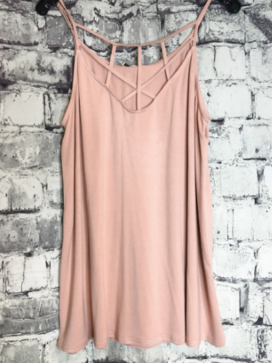 rose taupe strappy tank top shirt blouse summer fashion | shop women's clothing clothes apparel online or in store at boerne pixie boutique | a favorite of locals and san antonio visitors too
