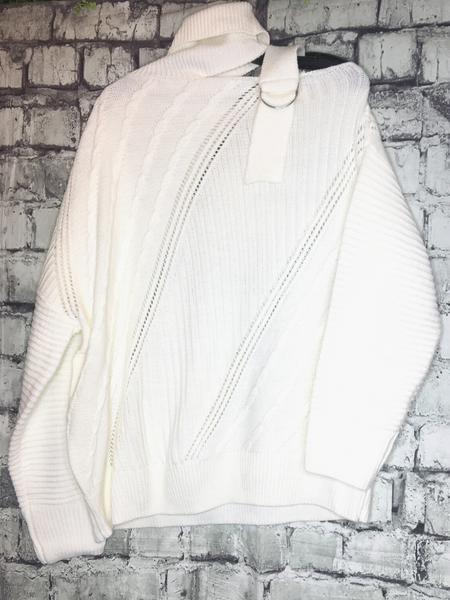ivory off white creamy white sweater with shoulder strap and turtleneck | top shirt blouse | fall and winter fashion | shop women's clothing clothes apparel accessories jewelry and gifts online or in store at boerne pixie boutique | a favorite of locals and san antonio visitors too | top best boerne boutiques