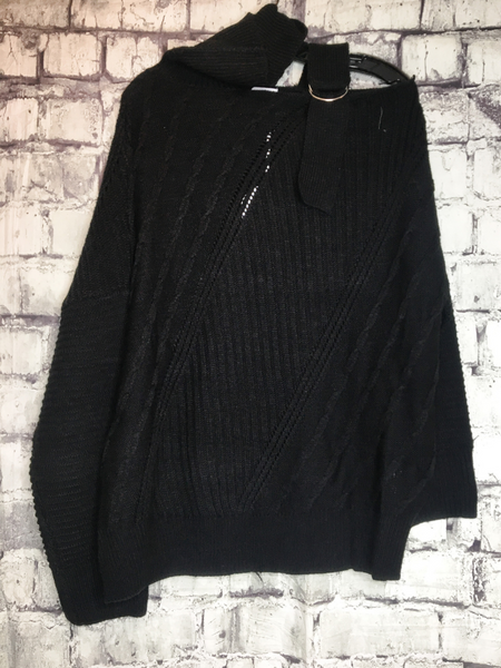 black sweater with shoulder strap and turtleneck | top shirt blouse | fall and winter fashion | shop women's clothing clothes apparel accessories jewelry and gifts online or in store at boerne pixie boutique | a favorite of locals and san antonio visitors too | top best boerne boutiques