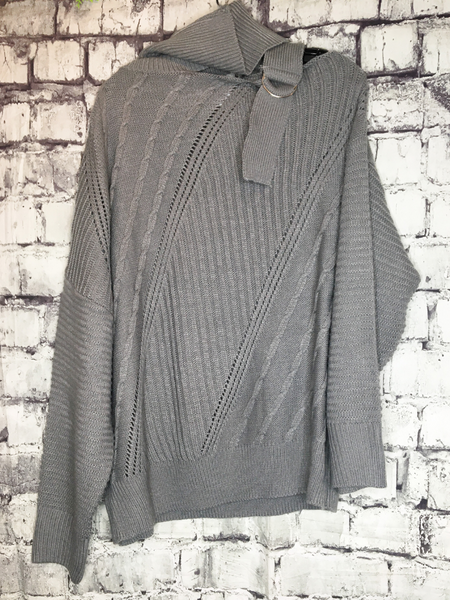 gray sweater with shoulder strap and turtleneck | top shirt blouse | fall and winter fashion | shop women's clothing clothes apparel accessories jewelry and gifts online or in store at boerne pixie boutique | a favorite of locals and san antonio visitors too | top best boerne boutiques