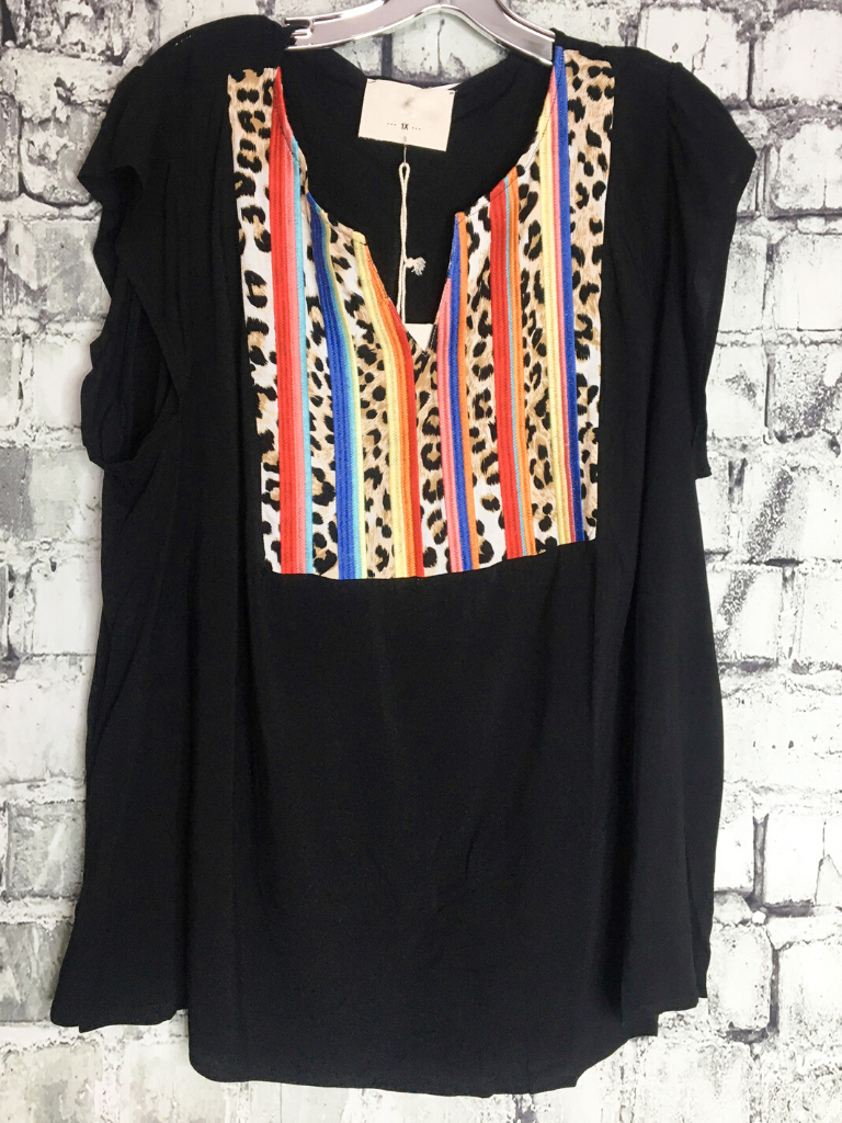 leopard stripes top black multicolored blouse shirt women's clothing apparel clothes pixie boutique boerne shop online or in store