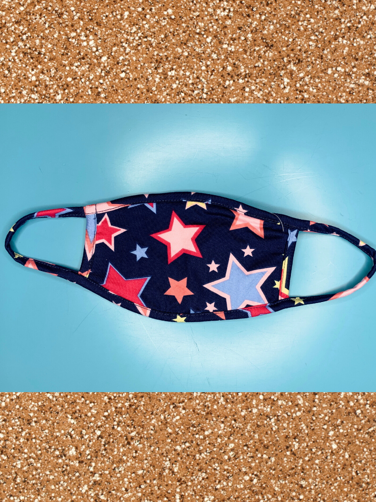 navy blue pink red youth kids face mask with stars | shop girls clothing clothes apparel accessories and gifts online or in store boerne pixie boutique | a favorite of locals and san antonio visitors too