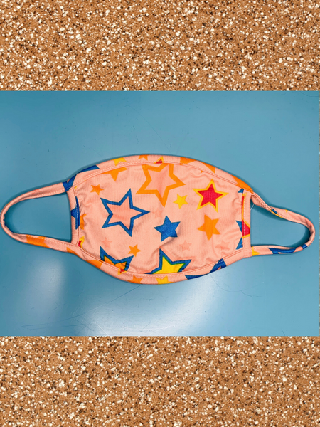 blue pink red orange yellow youth kids face mask with stars | shop girls clothing clothes apparel accessories and gifts online or in store boerne pixie boutique | a favorite of locals and san antonio visitors too