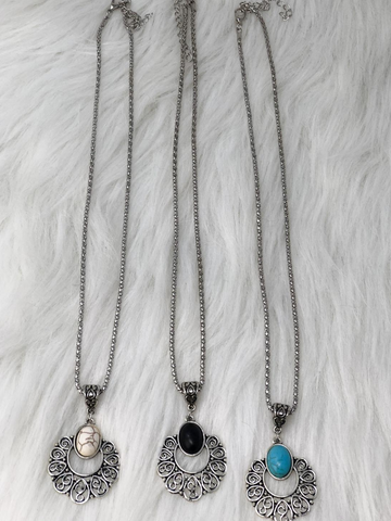 silver turquoise necklace in ivory white black and turquoise | shop women's clothing clothes apparel accessories jewelry and gifts online or in store at boerne pixie boutique | a favorite of locals and san antonio visitors too