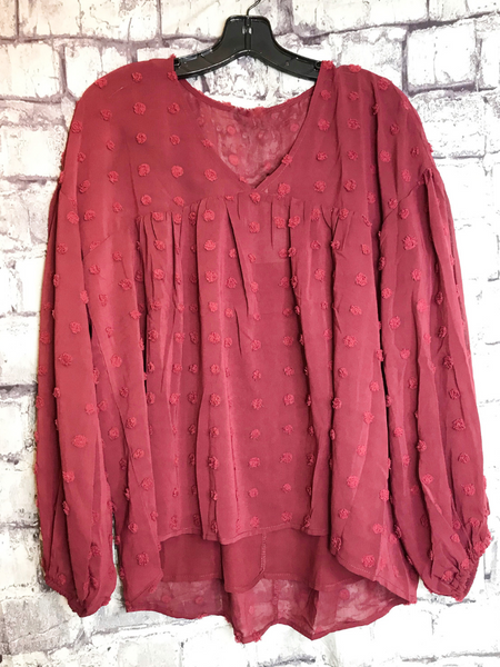 burgundy swiss dot peasant top shirt blouse | fall and winter fashion | shop women's clothing clothes apparel accessories jewelry and gifts online or in store at boerne pixie boutique | a favorite of locals and san antonio visitors too