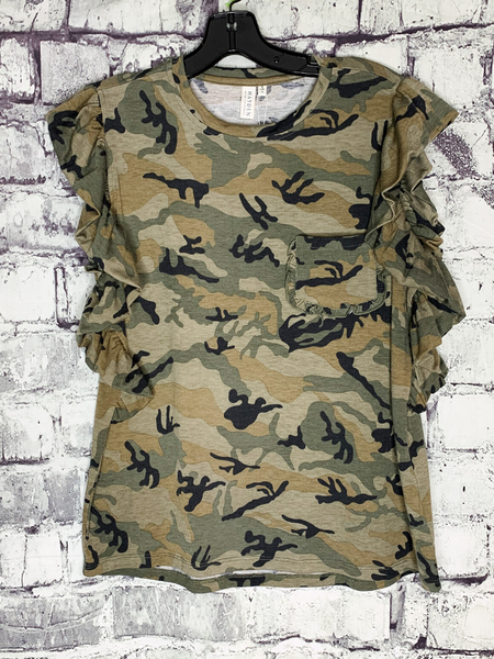 camo print tank top shirt blouse with ruffle sleeves | shop women's clothing clothes apparel accessories and gifts online or in store at boerne pixie boutique | a favorite of locals and san antonio visitors too