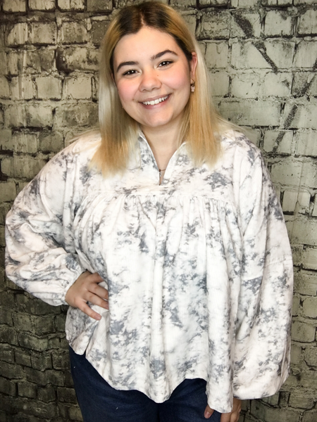 corduroy marbled tie dye shirt top blouse sweater with balloon sleeves | fall and winter fashion | shop women's clothing clothes apparel accessories jewelry and gifts online or in store at boerne pixie boutique | a favorite of locals and san antonio visitors too