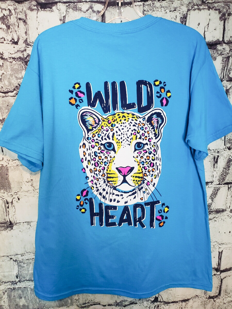 wild heart rainbow leopard print tee t-shirt top blouse girls' clothing clothes apparel shop apparel online or in store boerne pixie boutique | a favorite of locals and san antonio visitors too