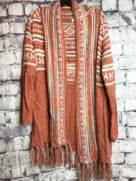 rust orange red tribal print cardigan sweater top shirt blouse | fall and winter fashion |shop women's clothing clothes apparel accessories jewelry and gifts online or in store at boerne pixie boutique | a favorite of locals and san antonio visitors too