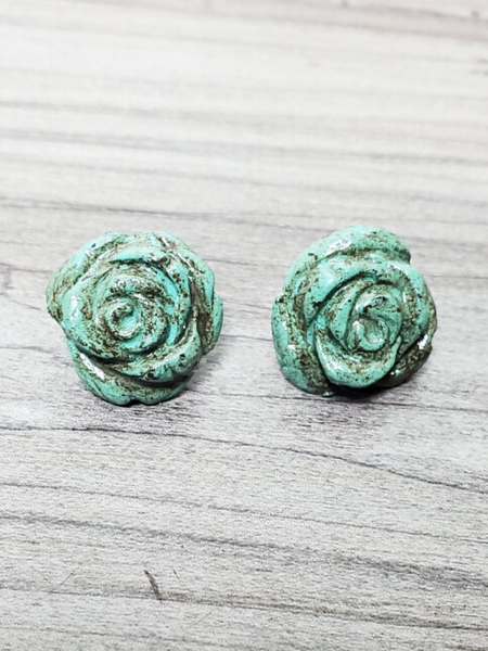 rose studs earrings turquoise women's jewelry accessories pixie boerne boutique shop online or in store
