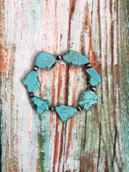 turquoise slab bracelet women's jewelry accessories pixie boutique shop online or in store boerne