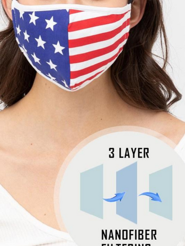 american flag usa face mask with adjustable straps filter and nose pinch red white and blue | shop women's clothing clothes apparel accessories and gifts online or in store at boerne pixie boutique | a favorite of locals and san antonio visitors too