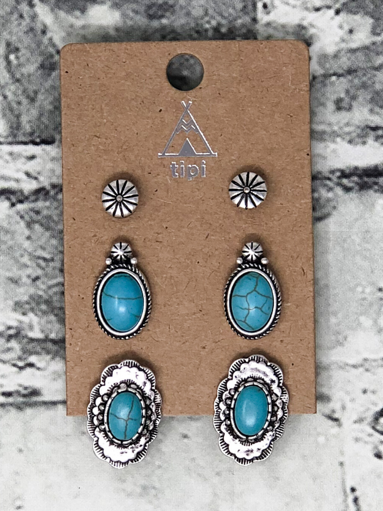 western ways earring trio turquoise silver women's jewelry accessories boerne pixie boutique shop online or in store